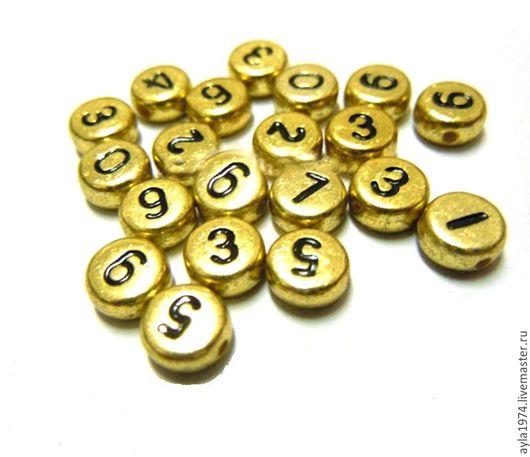 Для украшений ручной работы. Ярмарка Мастеров - ручная работа. Купить Бусина-разделитель,цифры набор 0 - 9. Handmade.