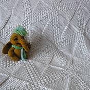 Для дома и интерьера handmade. Livemaster - original item Kids plaid envelope for newborn knitted white wool Rhombus. Handmade.