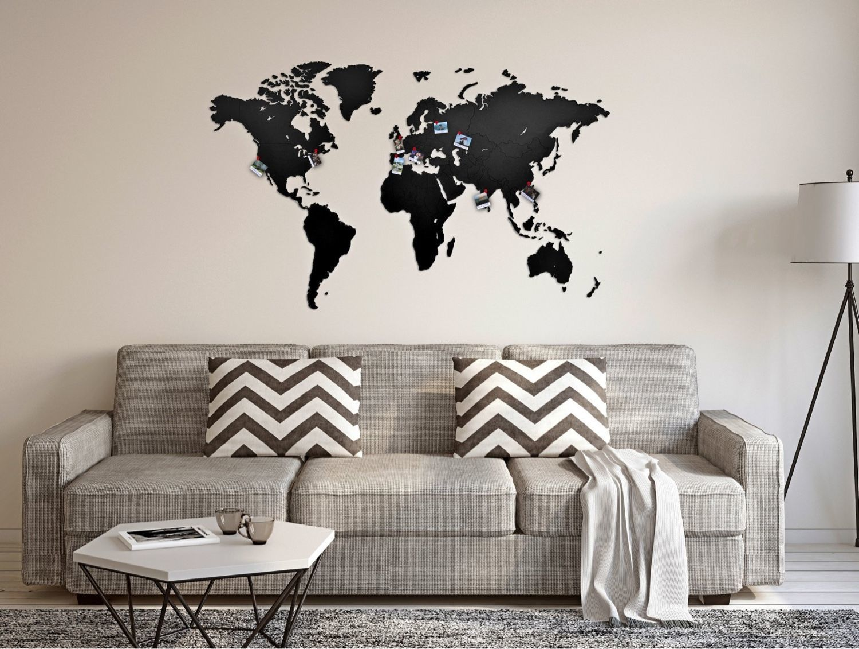 Picture of: World Map Of Wall Decoration Black 130×78 Kupit Na Yarmarke Masterov Ezrnxcom Karty Mira Moscow