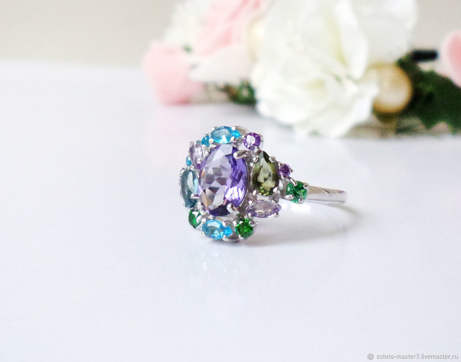 Silver ring ' forget-me-not', Rings, Chaikovsky,  Фото №1