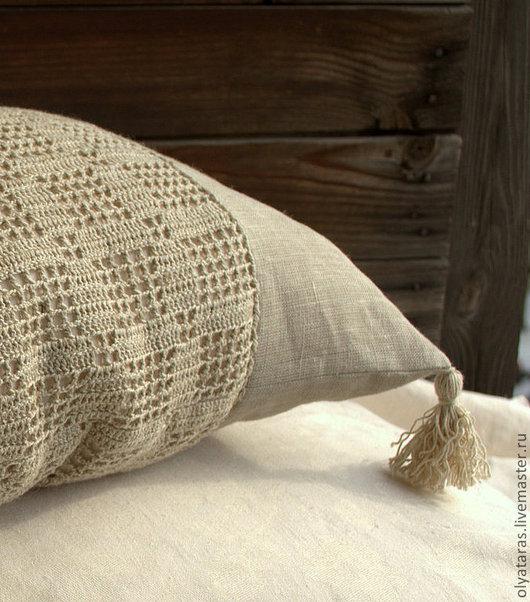 """Текстиль, ковры ручной работы. Ярмарка Мастеров - ручная работа. Купить Декоративная подушка """"Лен да и только"""".. Handmade. Серый, лен"""