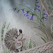 Для дома и интерьера handmade. Livemaster - original item A set of linen napkins Hedgehog in the bells. Hand painted. Handmade.