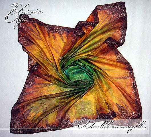 """Шали, палантины ручной работы. Ярмарка Мастеров - ручная работа. Купить Шелковый платок с авторской ручной роспись """"Сафари"""" батик на заказ. Handmade."""