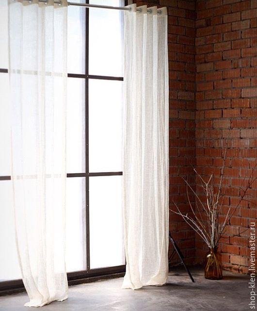 Текстиль, ковры ручной работы. Ярмарка Мастеров - ручная работа. Купить Тюль изо льна. Handmade. Белый