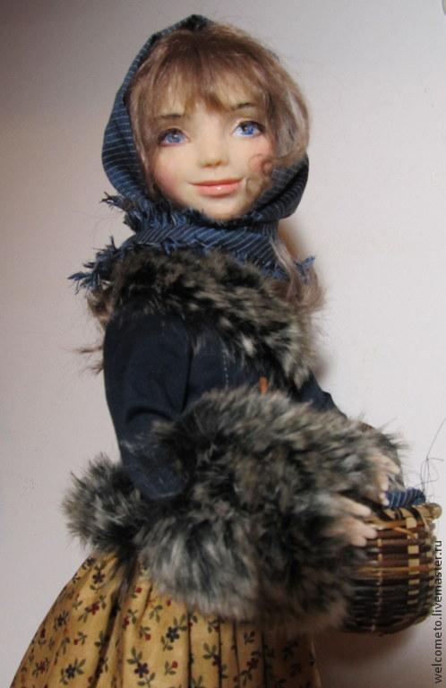 Коллекционные куклы ручной работы. Ярмарка Мастеров - ручная работа. Купить Кукла из пластика Настенька. Handmade. Тёмно-синий, платок