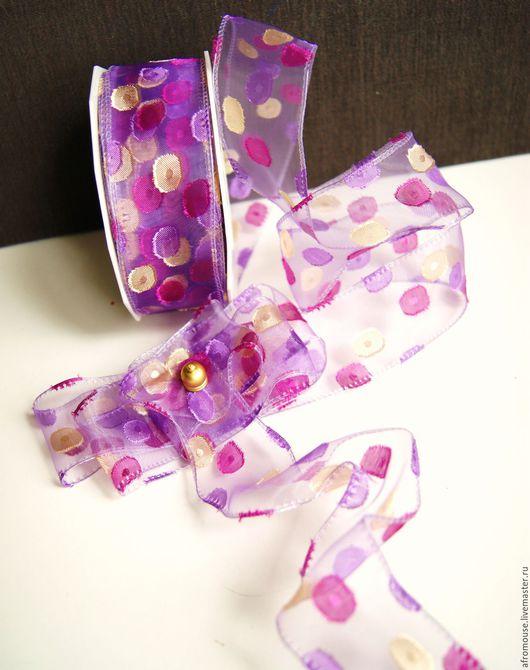 лента `Лиловые пятнышки` органза 50 мм