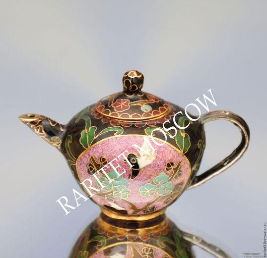 Винтажные предметы интерьера. Ярмарка Мастеров - ручная работа. Купить Чайник латунь клуазоне эмаль птица 22. Handmade. Комбинированный