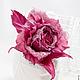 """Броши ручной работы. Роза """"Ciliegia dessert"""". Натуральный шелк.. 'Poli-Flower'   (Надежда). Ярмарка Мастеров. Роза брошь"""