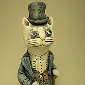 Куклы и игрушки ручной работы. Ярмарка Мастеров - ручная работа Керамические миниатюры. Коты в цилиндрах.. Handmade.