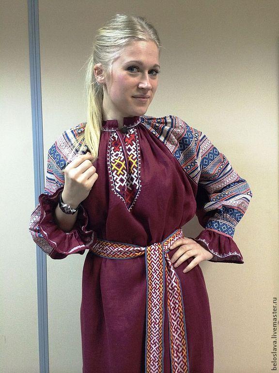 Shirt Burgundy, Folk dresses, Bryansk,  Фото №1