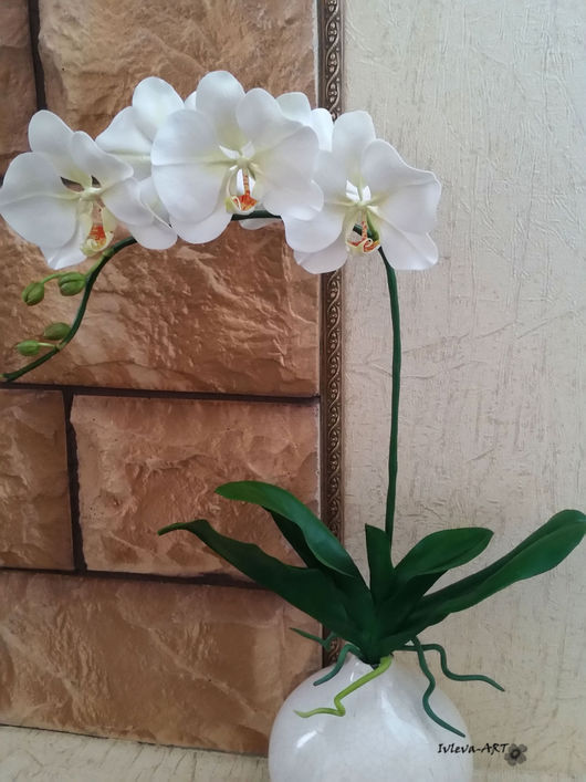 Интерьерные композиции ручной работы. Ярмарка Мастеров - ручная работа. Купить Белая орхидея фаленопсис. Handmade. Белый, орхидея из глины