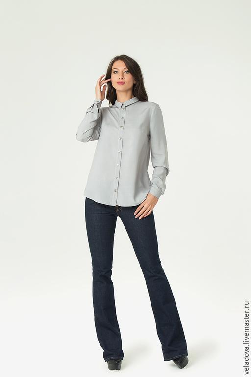 """Блузки ручной работы. Ярмарка Мастеров - ручная работа. Купить Блузка-рубашка """"Жемчужная"""". Handmade. Серый, серая блузка, блуза"""