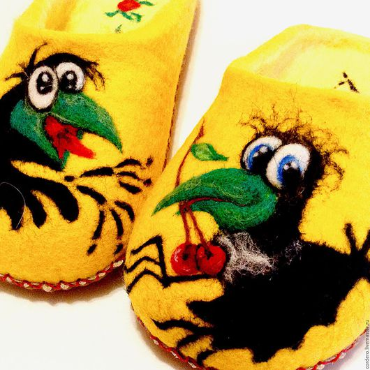 Обувь ручной работы.Ярмарка Мастеров-ручная работа. Купить тапочки Вороны. Handmade. Желтый,тапочки, обувь,кожа натуральная.