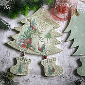Подарки к праздникам handmade. Livemaster - original item Panel Mysterious Christmas tree. Decoupage panels. Handmade.