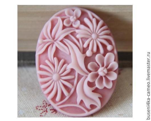 Для украшений ручной работы. Ярмарка Мастеров - ручная работа. Купить Камея Розовые цветы 30х40мм (пластик) 1шт.. Handmade.