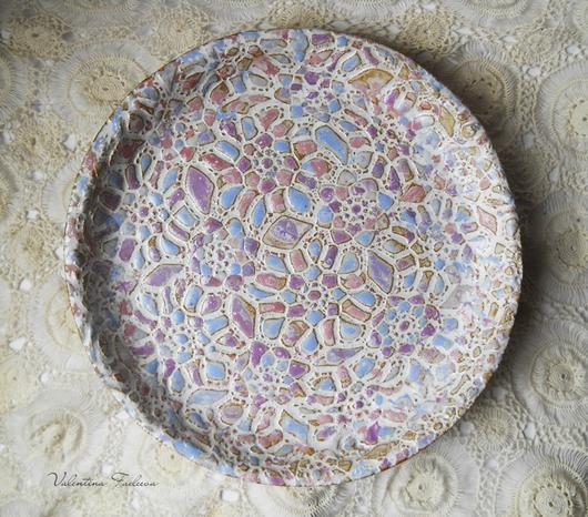 """Тарелки ручной работы. Ярмарка Мастеров - ручная работа. Купить керамическое блюдо """"Ажур"""". Handmade. Цветы, нежность, сиреневый, шебби"""