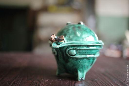 """Сервизы, чайные пары ручной работы. Ярмарка Мастеров - ручная работа. Купить Гайвань """"зеленый чай"""". Handmade. Морская волна"""