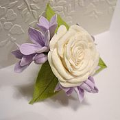 Украшения handmade. Livemaster - original item Bouquet of lilac and rose. Brooch with flowers from polymer clay.. Handmade.