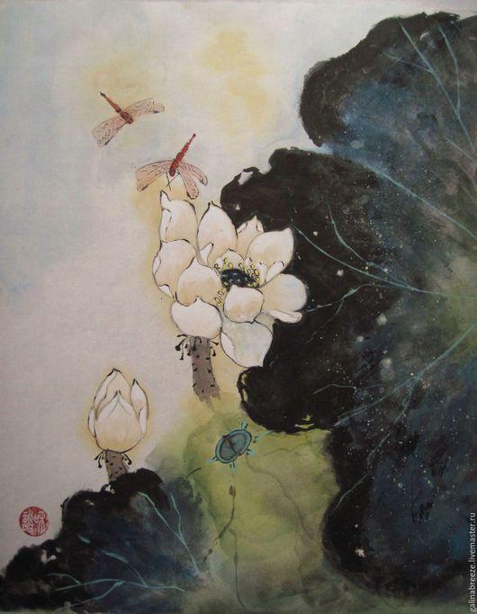 Картины цветов ручной работы. Ярмарка Мастеров - ручная работа. Купить В тихой заводи. Handmade. Комбинированный, интерьер спальни