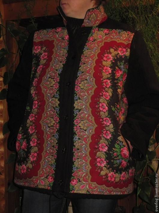 Верхняя одежда ручной работы. Ярмарка Мастеров - ручная работа. Купить Большой размер. КУРТКА женская утепленная из павло-посадских платков.. Handmade.