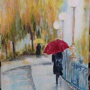 """Картины и панно ручной работы. Ярмарка Мастеров - ручная работа Картина маслом """" Та, которая уходит в дождь.."""". Handmade."""