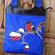 Handbags handmade. Bag - package 'bullfinch on blue'.. bag_bella (Fevra). My Livemaster.Branch, applique, city bag