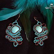 Украшения handmade. Livemaster - original item Soutache earrings made of turquoise