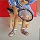 Коллекционные куклы ручной работы. Еленка-Спортсменка кукла интерьерная. Татьяна Пономаренко. Ярмарка Мастеров. Теннис, голубоглазая, бисер