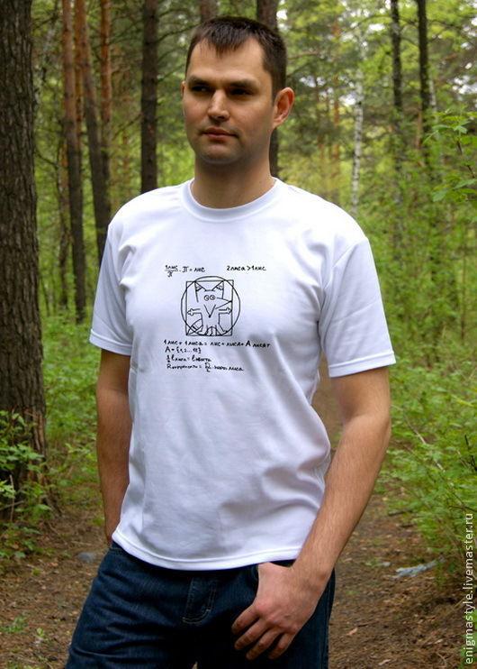 Cool t-shirt Vitruvian Fox, white t-shirt with formulas, T-shirts mens shirts, Novosibirsk,  Фото №1