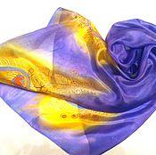 Аксессуары handmade. Livemaster - original item Batik Scarf Purple peacock gift silk 100. Handmade.