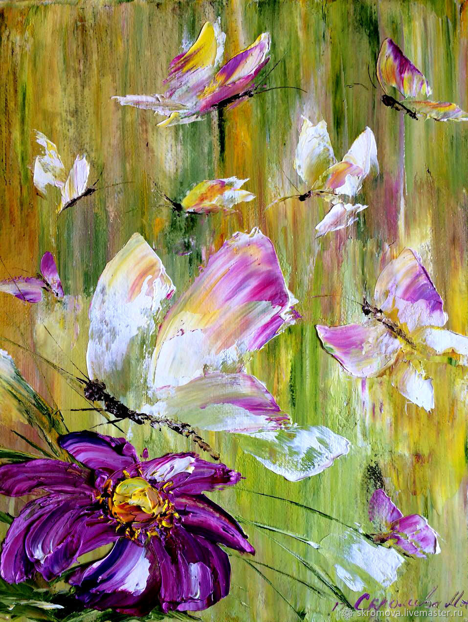 Butterflies in the meadow oil painting, Pictures, Moscow,  Фото №1