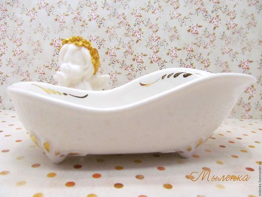 Ванная комната ручной работы. Ярмарка Мастеров - ручная работа. Купить Мыльница фарфор Роспись золотом Винтажная ванна. Остаток 1шт. Handmade.
