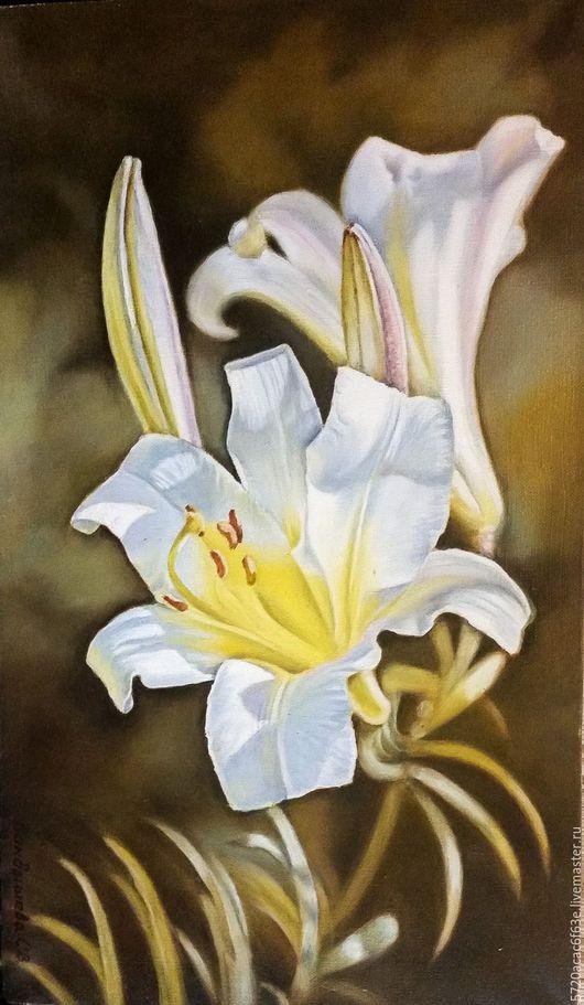 Картины цветов ручной работы. Ярмарка Мастеров - ручная работа. Купить Картина маслом Белая лилия 30х50 холст, масло. Handmade.