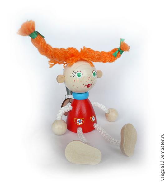 """Человечки ручной работы. Ярмарка Мастеров - ручная работа. Купить Игрушка """"Девочка с хвостиками"""" на пружинке. Handmade. Игрушка для детей, игрушка"""