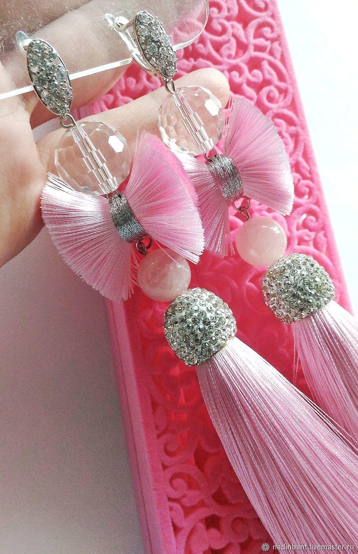 Earring of the brush 'Style Nadin Rose', Tassel earrings, St. Petersburg,  Фото №1