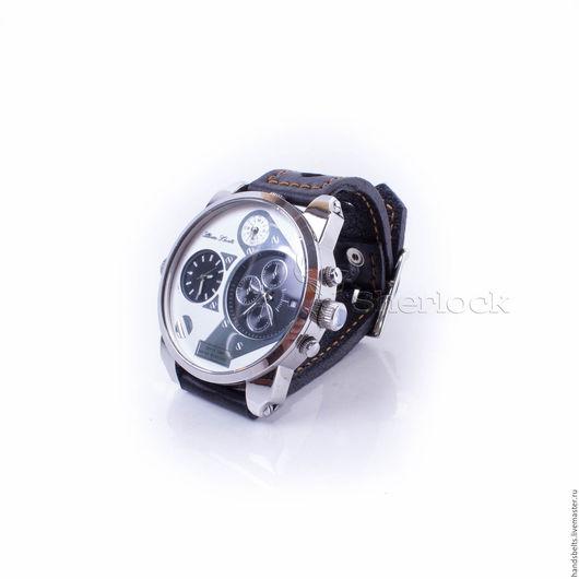 Часы ручной работы. Ярмарка Мастеров - ручная работа. Купить Часы на черном классическом ремешке мужские черные арт.  7508. Handmade.