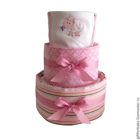 """Персональные подарки ручной работы. Ярмарка Мастеров - ручная работа. Купить Торт из памперсов """"Розовые сны"""". Handmade. Бледно-розовый"""