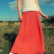 """Одежда ручной работы. Ярмарка Мастеров - ручная работа Вязаная летняя плиссе юбка """"Коралловая прогулка"""". Handmade."""