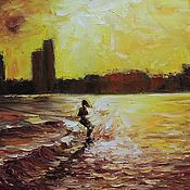 Картины и панно handmade. Livemaster - original item The wave - author`s oil painting. Handmade.