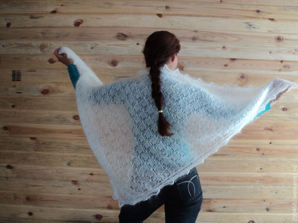 Shawls & Warm Stoles handmade. Livemaster - handmade. Buy Shawl openwork Drops down.White, knitting to order