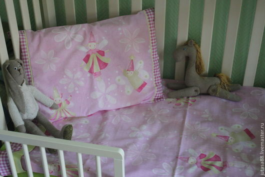 Детская ручной работы. Ярмарка Мастеров - ручная работа. Купить Детское постельное белье с феями. Handmade. Розовый, французский