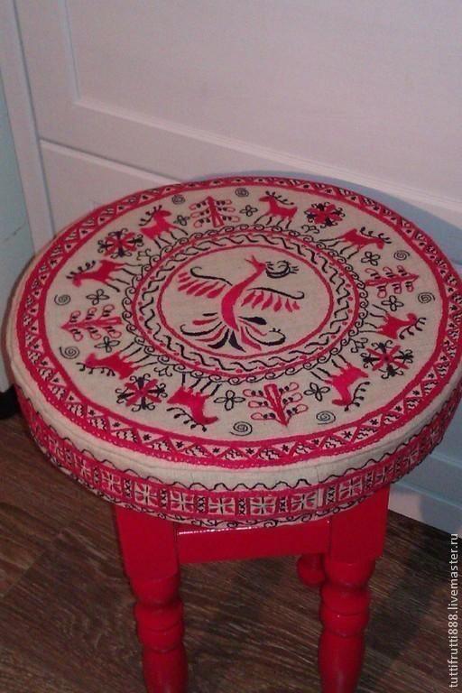 Текстиль, ковры ручной работы. Ярмарка Мастеров - ручная работа. Купить Подушка-сидушка круглая на табурет в русском стиле Птица счастья. Handmade.