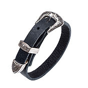 Украшения handmade. Livemaster - original item Women`s leather bracelet Black&Black with buckle. Handmade.