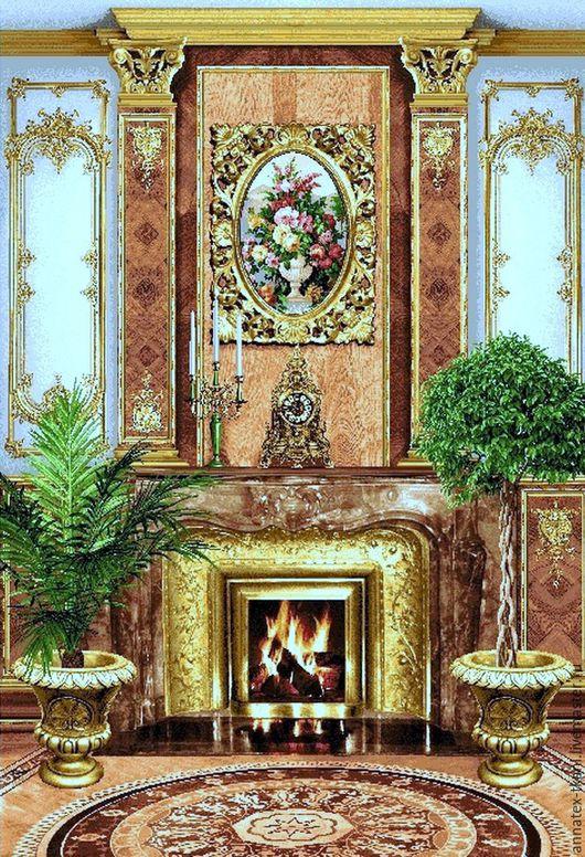Красивое гобеленовое панно с изображенным рисунком - камина.  Размер панно - 140 см х 200 см