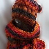"""Аксессуары ручной работы. Ярмарка Мастеров - ручная работа Комплект шапка + снуд """"Оранжевый гранат"""". Handmade."""