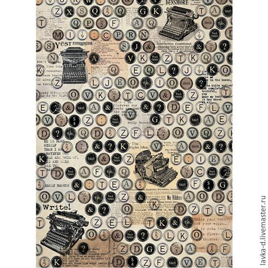 `Печатные машинки` рисовая декупажная карта, 25г/м Формат А3 135 руб