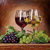 "Картины и панно manualidades. Livemaster - hecho a mano Натюрморт ""Вино и виноград"". Handmade."