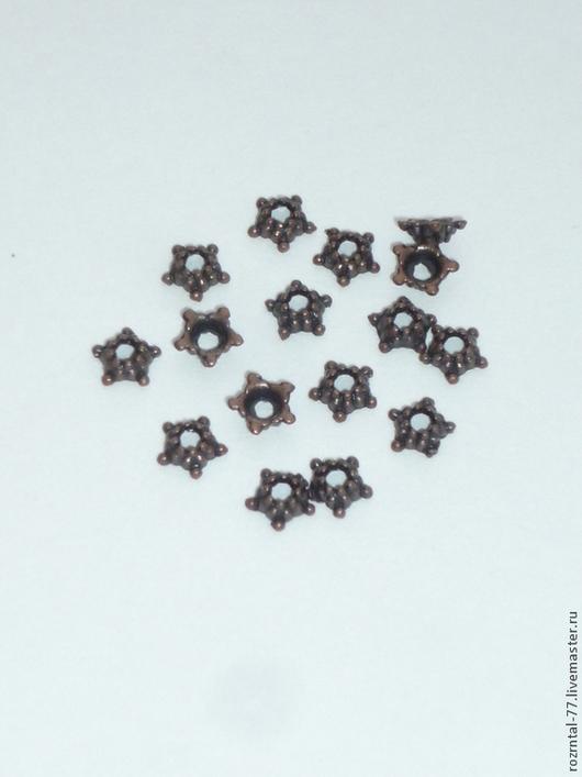 Шапочка для бусин `Звезда `, подходят для бусин  6-12мм, цвет ант. медь