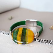 Украшения handmade. Livemaster - original item Bracelet with a large stone on the skin green-yellow with magnetic lock. Handmade.