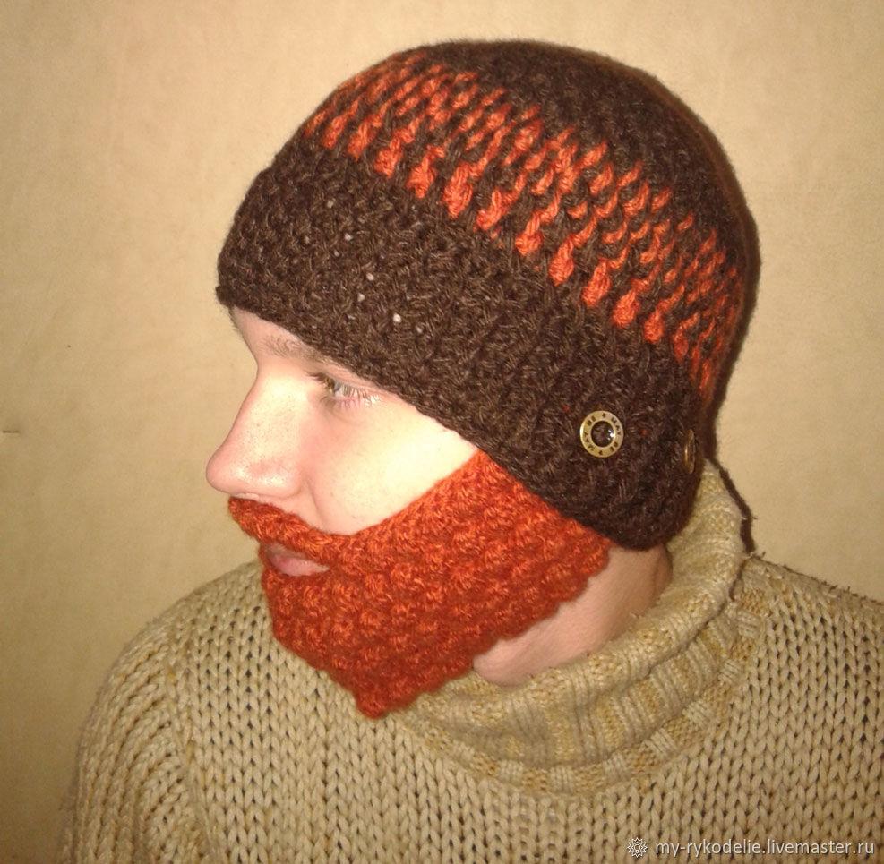 вязаная шапка с бородой купить в интернет магазине на ярмарке